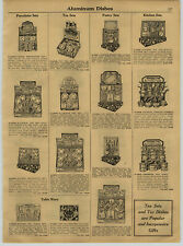 1931 Paper Ad Toy Play Aluminum Tea Sets Coffee Pastry Pots Pans Sewing Machine