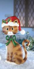 Charming Christmas Holiday Bobble Head Cat Garden Stakes