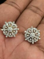 Pave 0,87 Cts Ronde Brillante Couper Diamants Clous Boucles d'oreilles En 18K Or