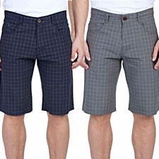 Cotton Check Flat Front Shorts for Men