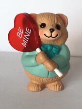 "1990 Hallmark Merry Miniature Valentines Bear w/Heart ""Be Mine"" Lollipop"