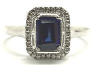 Sterling Silver 925 Solitaire Emerald Cut Blue Tanzanite CZ Accent Cocktail Ring