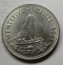 Bahamas 25 Cents 1966 Nickel KM#6 UNC