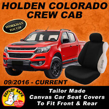 Canvas Car Seat Covers Holden Colorado Crew Cab RG 9/2016-On Airbag Safe 2 Rows
