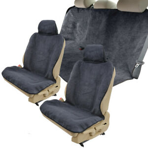 Towel Car Seat Covers for Front & Rear Bench Absorb Sweat Yoga Pet - Gray/ Black