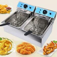 Commercial Kitchen 16l Electric Deep Fryer Dual Tank Stainless Steel 2fry Basket