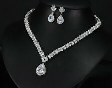 18k White Gold GP Necklace Earrings Set made w/ Swarovski Crystal Bridal Jewelry