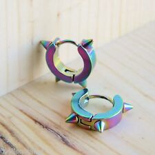 Punk Hip Hop Huggie style Iridescent Titanium Steel Spike Stud Hoop Earrings