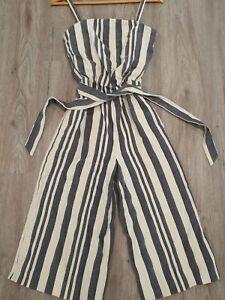Country Road Stripe Print Cotton Jumpsuit Womans Size 4