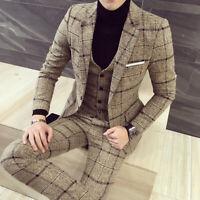 Beige Plaid Men Tweed Suit Vintage Groom Tuxedo Wedding Suit Prom Party Casual
