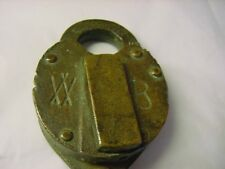 ANTIQUE SOLID BRASS PADLOCK W B--WILSON BOHANNAN CHAIN ATTACHED NO KEY