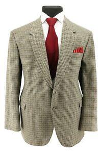Men's Bespoke 100% Wool Big Men's Houndstooth Made In UK Sport Coat Blazer 50 L