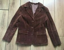 Brown Suede Jacket UK 14 ladies Fitted 42 Blazer Button Lined Country Horse Show