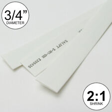 """3/4"""" ID White Heat Shrink Tube 2:1 ratio 0.75"""" (3x8"""" = 2 ft) inch/feet/to 20mm"""