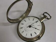 Superbe montre à coq à quantième Antique pocket watch Date Fusee Verge Silver