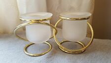Partylite Gemini pair, gold-tone, frosted glass votive/tea light holders, Euc