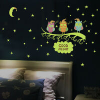 Luminous Star Moon Tree Wall Decals Stickers Glow In Dark Kids Room Home Decor