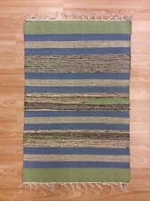 Striped Multi Colour Handwoven Reversible 100% Cotton RUG 60x90cm 2'x3' 50%OFF