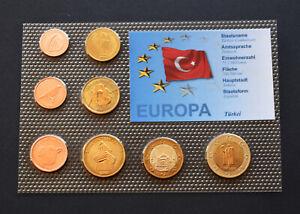 TURKEY 2008 SET EURO SPECIMEN PATTERN PROTOTYPE ESSAI ANIMALS COIN Türkiye #023