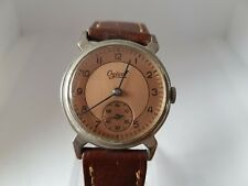 Vintage 1940s Swiss Made WWII Era Gents Ogival Bi-Colour Copper & Brass Sub-Dial