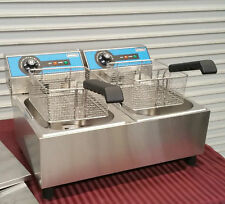 New Double Counter Top Fryer Electric Uniworld Uef 102 2715 Twin Basket Deep Fat