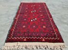 Hand Knotted Vintage Afghan Turkmon Basheeri Wool Area Rug 3 x 2 Ft (11281 KBN)