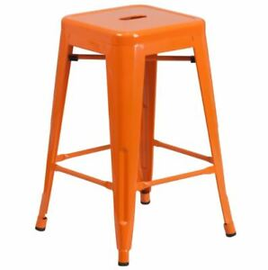 Orange High Backless Metal Indoor-Outdoor Counter Height Stool with Square Seat