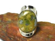 Rainforest   JASPER   Sterling  Silver  925  Gemstone  RING   -  Size : L