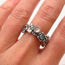 PANDORA 925 Sterling Silver Blue Topaz & Moonstone Gemstone Clear CZ Floral Ring