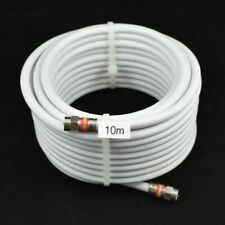 10m White RG6 Coax Quad Shield  F-Type Cable Digital TV Foxtel Telstra Optus NBN
