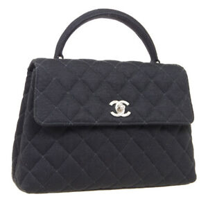 CHANEL Quilted Small Hand Bag Top Handle Purse Black Cotton 4520042 34108