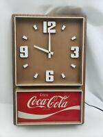 Coca-Cola Clock Plastic Wood Grain Vintage Impact International USA Made Coke