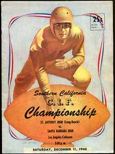 1948 St. Anthony v Santa Barbara High School Champion Football Program NMT Cond