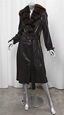 FENDI Womens Brown Leather Genuine Fur Collar Belted Trench Jacket Coat 42/6