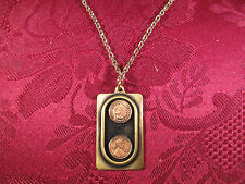 "Solid Brass and Copper Indian Lincoln Cent Money Coin Charm 24"" Chain"
