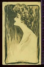 A YANKEE GIRL Beautiful Lady Silhouette NY BASEBALL Vintage UNUSED Postcard