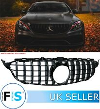 MERCEDES C CLASS W205 C205 AMG GT STYLE GRILLE GLOSS BLACK NO CAMERA OEM FIT