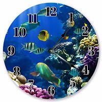 Ocean Beach House Decor Wall Clocks Blue Fun AQUATIC FISH MARINE LIFE CLOCK 3138