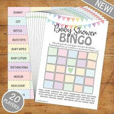 Baby Shower Bingo - Unisex/Boy/Girl - 20 Players - Perfect Party Game!