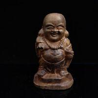 Chinese Antique Hand carved Maitreya Buddha Model Wood Statue   M034