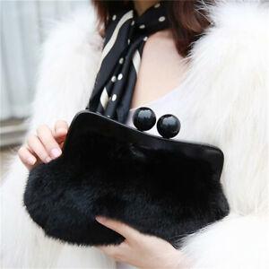 Elegant Women Evening Bags Full-pelt Mink Fur Clutches Bags Resin Clip Wallets