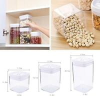 Kitchen Airtight Food Storage Container Cereal Dry Plastic Clear Pantry Box P3Q7