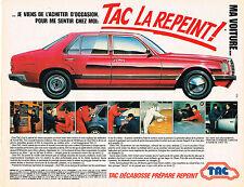 PUBLICITE ADVERTISING 064  1984  TAC  décabosse repeint prépare les voitures