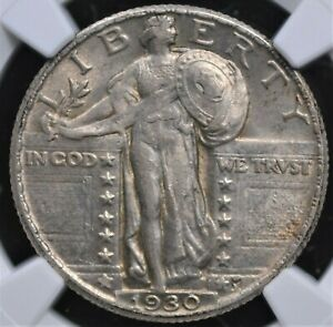 1930 STANDING LIBERTY QUARTER NGC VERY CHOICE ABOUT UNCIRCULATED 58 NICE AND