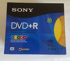 Sony DVD +R Color Collection Sealed 20 Pack 120 Min 4.7 GB Slim Jewel Cases