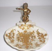 Seifenschale mit Bronze Engel - Farben: beige und gold - Keramik - NEU!