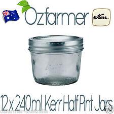 12 x 240ml Half Pint Kerr Jars by Ball Mason Australia Free Shipping! BPA FREE!
