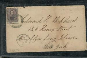 CANADA COVER (P0111B) 1861 10C CONSORT VIOLET SHADE ON SMALL COVER QUEBEC-USA