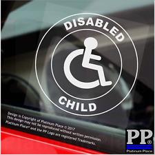 1x figlio disabile-Round-Finestra Adesivo-segno, auto, avviso, notare, LOGO, figlio, figlia