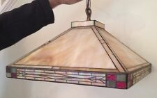 Ceiling Light Fixture Tiffany Style Stained Glass Hanging Mission Arts & Crafts